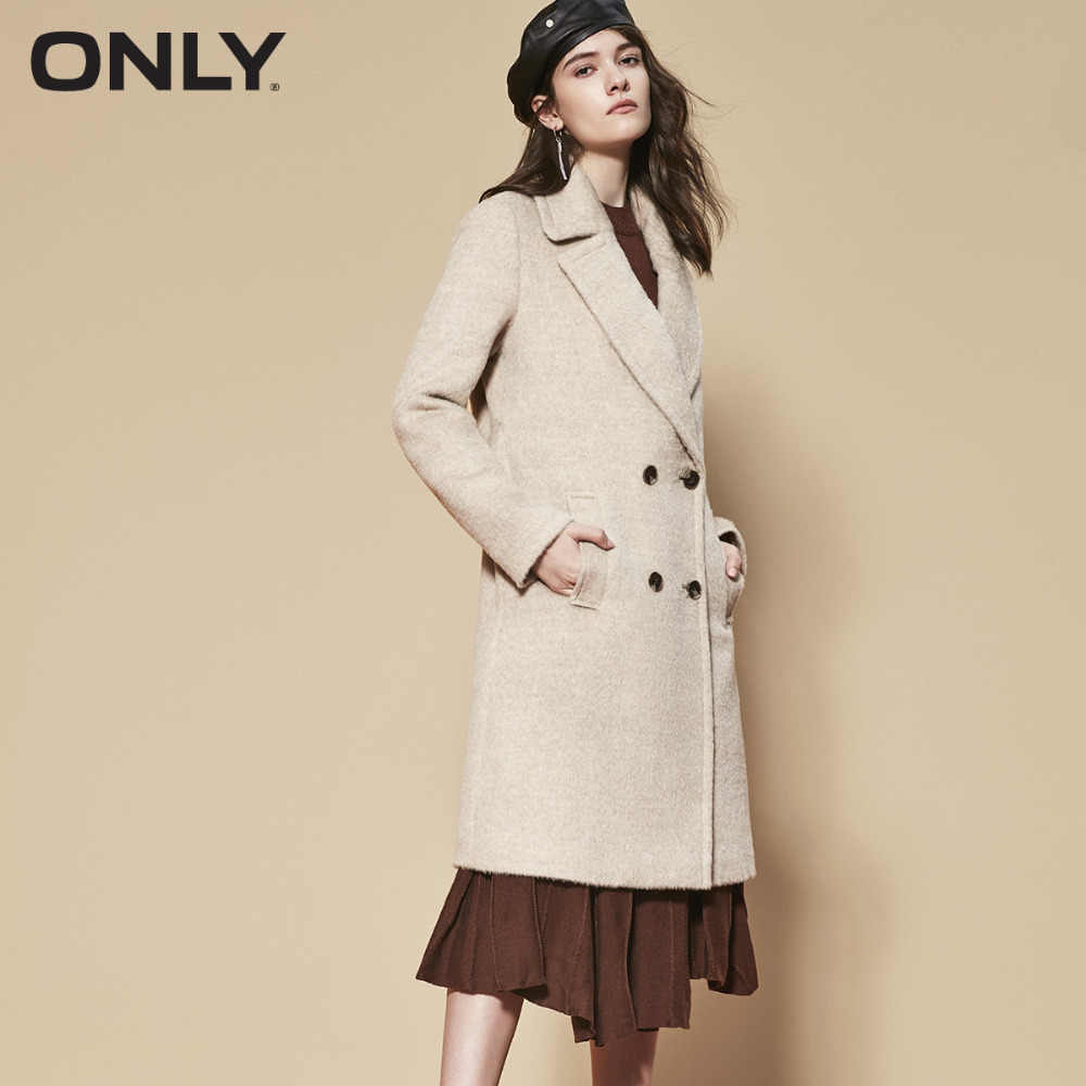 ONLY  womens' winter new wool alpaca hair long thick woolen coat Fixed waist belt Double breasted|11834S543