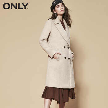 ONLY womens\' winter new wool long thick woolen coat Fixed waist belt Double breasted Double breasted design|11834S543