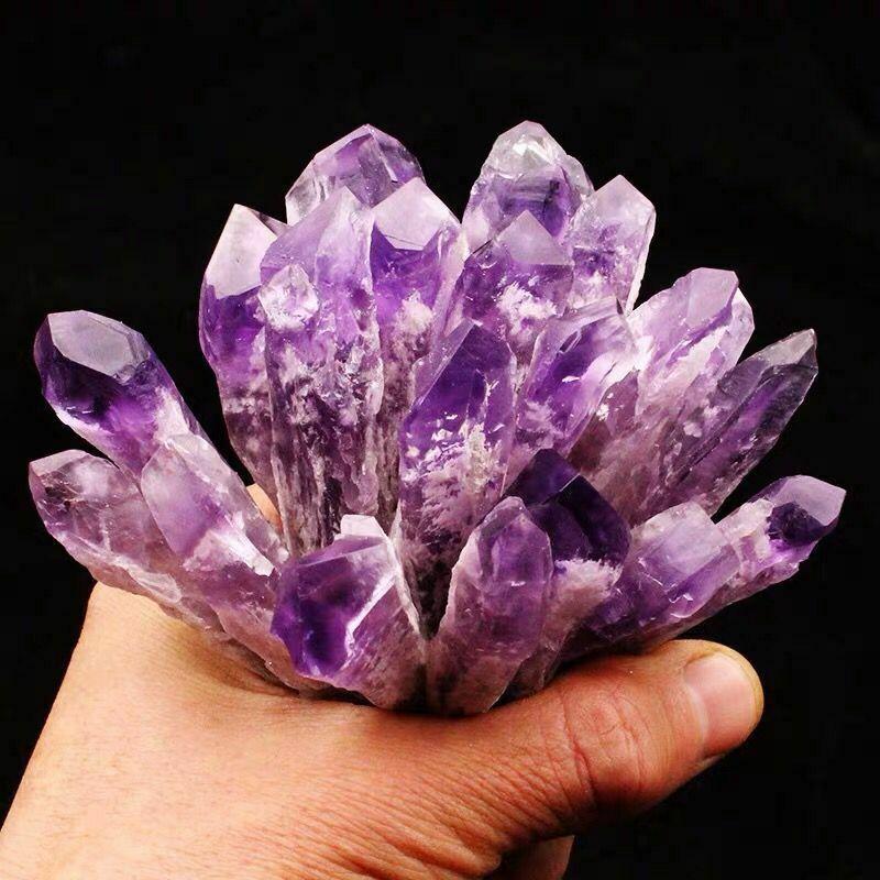 Natural crystal rough gemstones amethyst quartz cluster crystal wand point specimen raw Healing stone