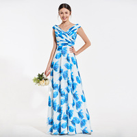 Tanpell printing bridesmaid dress v neck pleating floor length a line gown women wedding party formal custom bridesmaid dresses