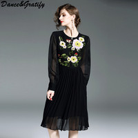 2018 Spring Runway Women Black Chiffon Dress Female Flower Embroidery Sequins Lolita Midi Party Dresses