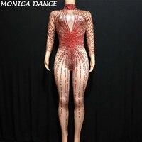 Пикантные блестящие красные комбинезон со стразами костюм Bling комбинезон Женская наряд боди на день рождения праздничная одежда певица оде