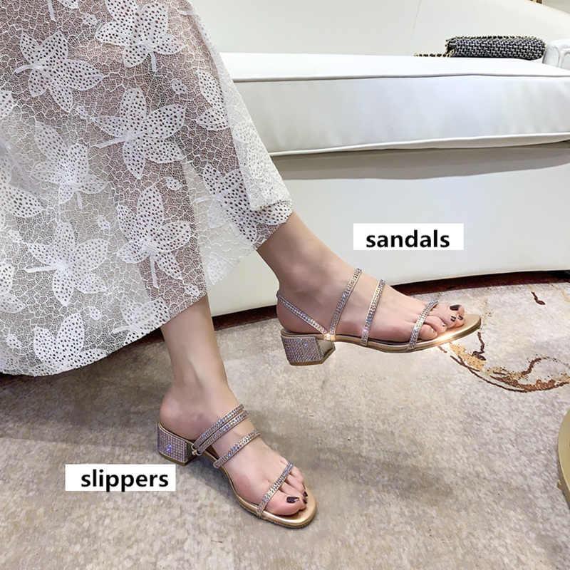 TINGHON Nữ Mùa Hè Giữa Dép Dép Nữ Thoáng Khí Kim Cương Giả Giày Bên Ngoài Giày Bé Gái Chất Lượng Cao
