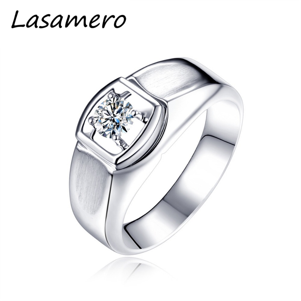 LASAMERO טבעת לגברים, 0.08CT מרכז העגול Cut טבעי טבעת יהלום 18 k זהב לבן מוצק טבעת אירוסין, טבעת נישואים