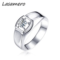 LASAMERO Ring for Men,0.08CT Round Cut Center Natural Diamond Ring 18k White Solid Gold Engagement Ring,Wedding Ring