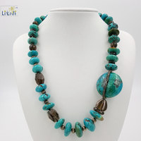 Natural Turquoise Smoky Quartz Beads 925 Sterling Silver Beads With Jade Toggle Clasp Fashion Women Jewelry