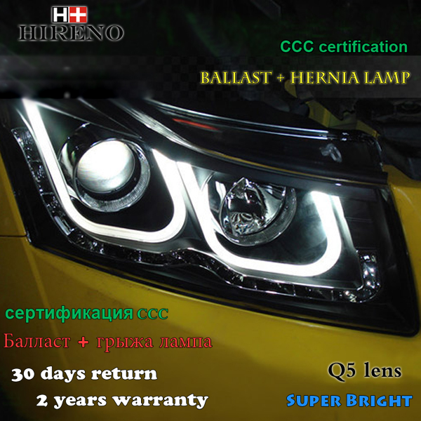 Hireno Headlamp for 2010-2014 Chevrolet Cruze Headlight Assembly LED DRL Angel Lens Double Beam HID Xenon 2pcs
