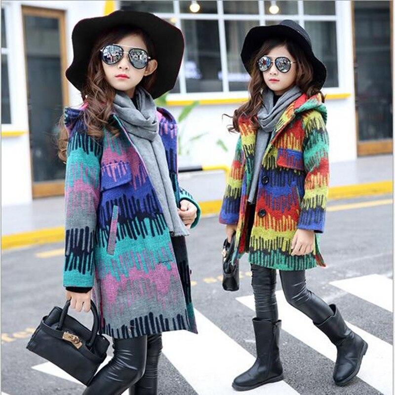 2018 Girls Autumn Winter Print Outerwear Children Princess Trench Coat Girl Cute School Hooded Long Sleeve Christmas Warm Coat цена 2017