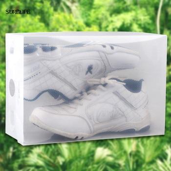 10pcs children/women/men Foldable Clear Plastic Shoe Storage Box Transparent Stackable Foldable Shoe Box Organizers Wholesale