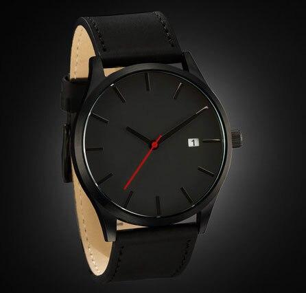 Elegant Watch Men Black Case.Black Dial Face Black hands Japanese Movement
