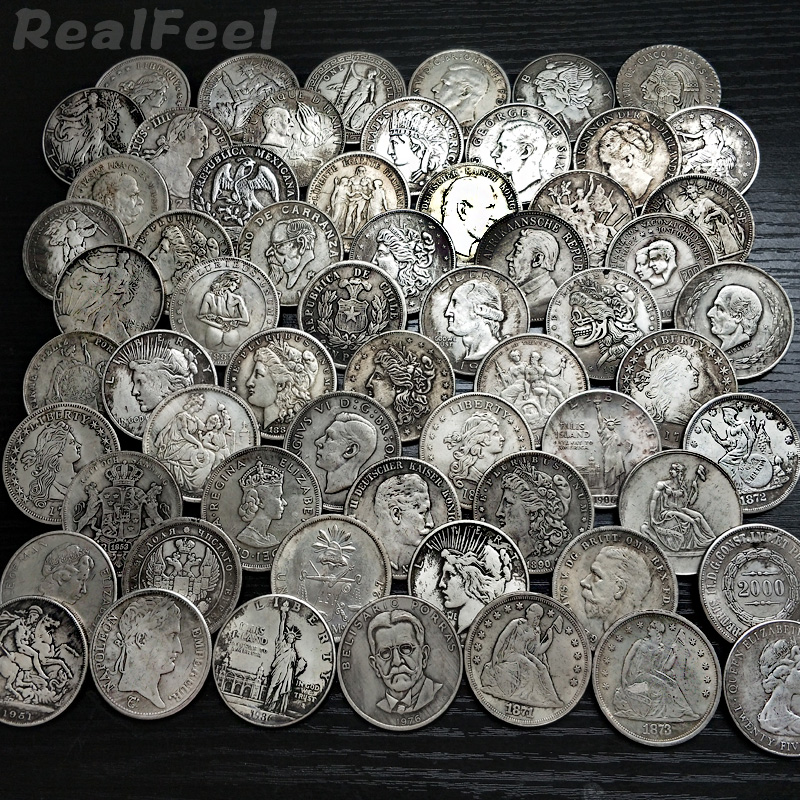 60Pcs/lot Set Totally different Duplicate Cash Copy Coin Assortment Silver Plated Copper Collectible Cash Crafts