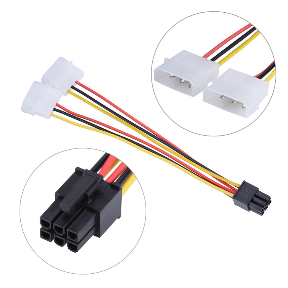 1pcs 6 Pin PCI Express Male to 2x IDE Molex Video Card Power Adapter