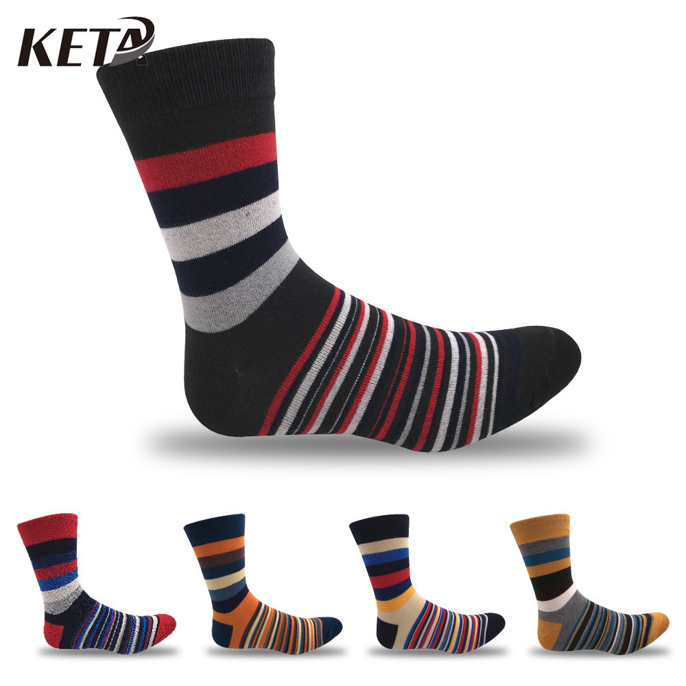 KETA Fashion Casual Colorful Striped Men Socks Male Brand Cotton Happy Socks For Men Funny Sox Crew Dress Business Socks 5Pairs