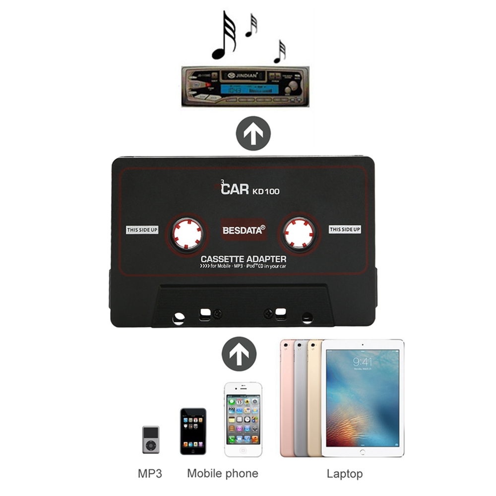 110cm Universal Audio Tape Adapter 3 5mm Jack Plug Black Car Stereo Audio Cassette Adapter for iPod Phone MP3 CD DVD Player Tape in Blank Record Tape from Consumer Electronics