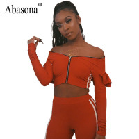 Abasona Women Jumpsuits Rompers Side Striped Two Piece Set Long Sleeve Off Shoulder Ruffles Overalls Zipper