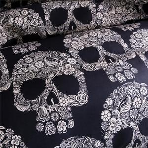 Image 4 - Bonenjoy Schwarz Farbe Bettbezug Königin Größe Luxus Zucker Schädel Bettwäsche Set König Größe 3D Schädel Bettwäsche und Bett Sets