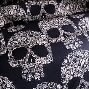 Image 4 - Bonenjoy שחור צבע שמיכה כיסוי מלכת גודל יוקרה סוכר גולגולת סט מצעים מלך גודל 3D גולגולת מצעים וערכות מיטה