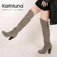 KarinLunaขนาดใหญ่34-43ใหม่ผู้หญิงเข่าสูงบู๊ทส์เซ็กซี่ก้อนรองเท้าส้นสูงเพิ่มขนฤดูหนาวฤดูใบไม้ร่วงรองเท้าแพลตฟอร์มหิมะรองเท้าอัศวิน