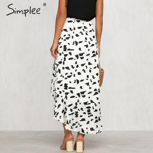 Image 4 - Simplee Animal print women skirt Asymmetrical ruffled summer style ladies skirts High waist A line female bottom midi skirts