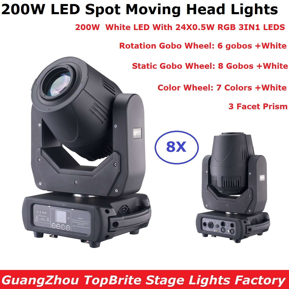 8 Units Eyourlife LED 200W Gobo LED Moving Head Lights Beam Spot 2IN1 LED Party Light Projector 3 Facet Prism TrueCon IN/OUT цена