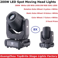 8 Units Eyourlife LED 200W Gobo LED Moving Head Lights Beam Spot 2IN1 LED Party Light Projector 3 Facet Prism TrueCon IN/OUT