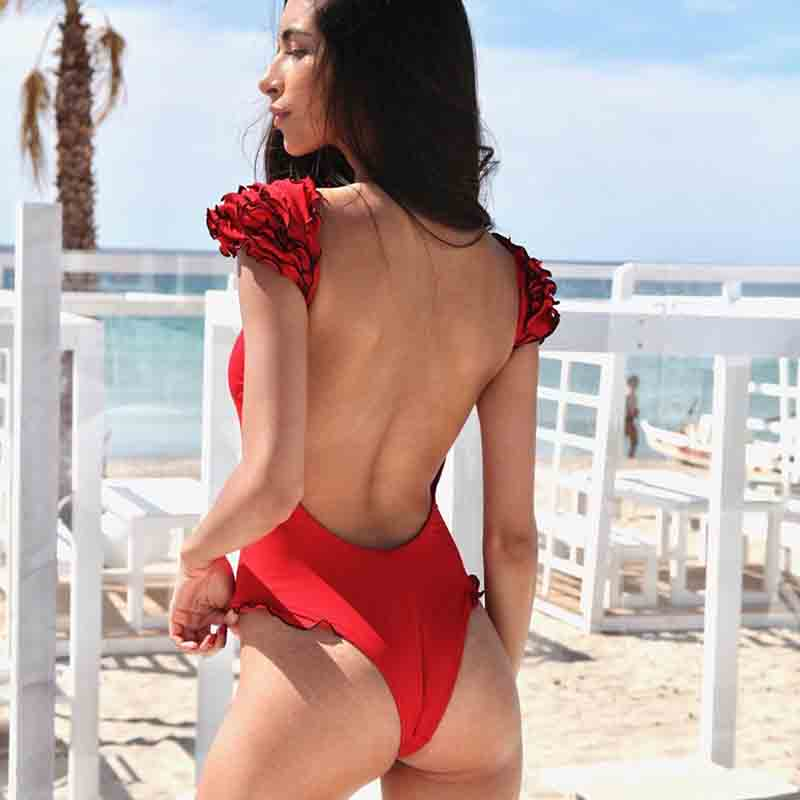 Hot 2019 Solid Bikini sexy hot solid swimsuit one piece dropshipping swimwear backless women lace shoulder frill bathing suit in Body Suits from Sports Entertainment