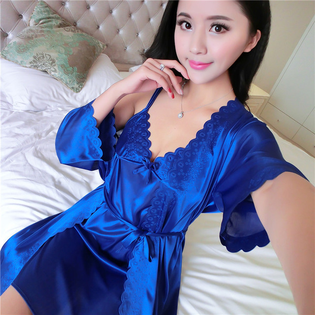 Women smooth soft satin ice silk two-piece nightdress cute sexy braces  skirt cotton solid 1446636e4