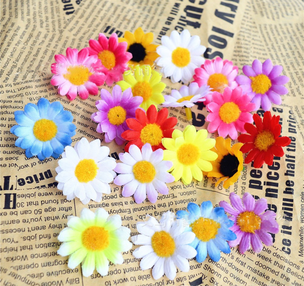 100pc 4omm Small Silk Daisy Artificial Flowers For Party Home Office