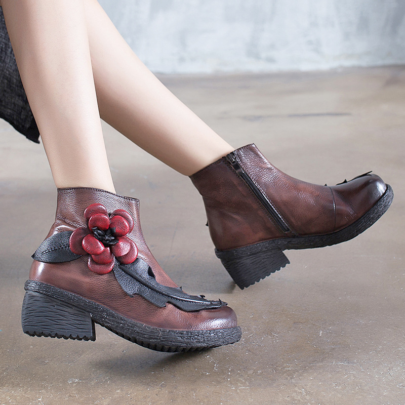 Women Embroidery Ankle Boots Genuine Leather Winter Shoes 2018 Flower Martin Boots 6 CM High Heels Women Handmade Leather Boots цены онлайн