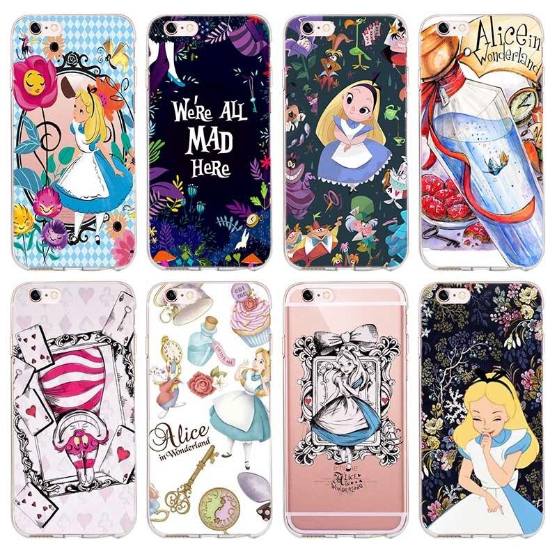 Alice in Wonderland Princess Cartoon iphone 7 plus phone case Para o iphone X 4 5S se 6 6 s 7 8 Plus TPU silicone Tampa Coque