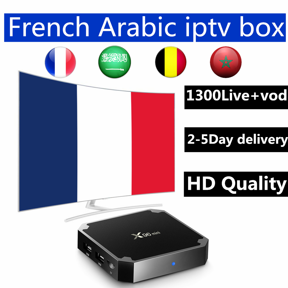 Tv Box android 7.1 x96 mini 8G ROM+1300 live VOD gift support H.265 best France Arabic Belgium iptv abonnement free shipping
