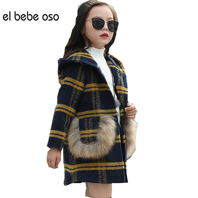 el bebe oso Girls Woollen Outerwear & Coat  New Autumn Winter Girls Plaid Children Clothing Fashion Kids Jackets Clothes XL578