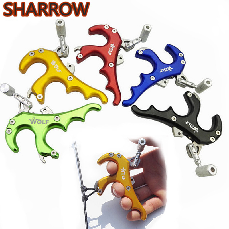 1pc Archery 4 Fingers Adjustable Bow Release Trigger Tension Aids Grip Stainless Steel Release Compound Bow