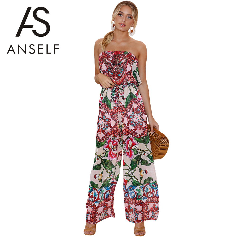 Anself Women Sexy Jumpsuit Vintage Bohemian Floral Print Off Shoulder Rompers Backless Boho Loose Retro Playsuit Body Feminino enterizo tribal straples