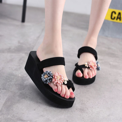 Wholesale of hand-made flower sandals summer clip-toe thick-bottomed women's outdoor leisure skid sandal