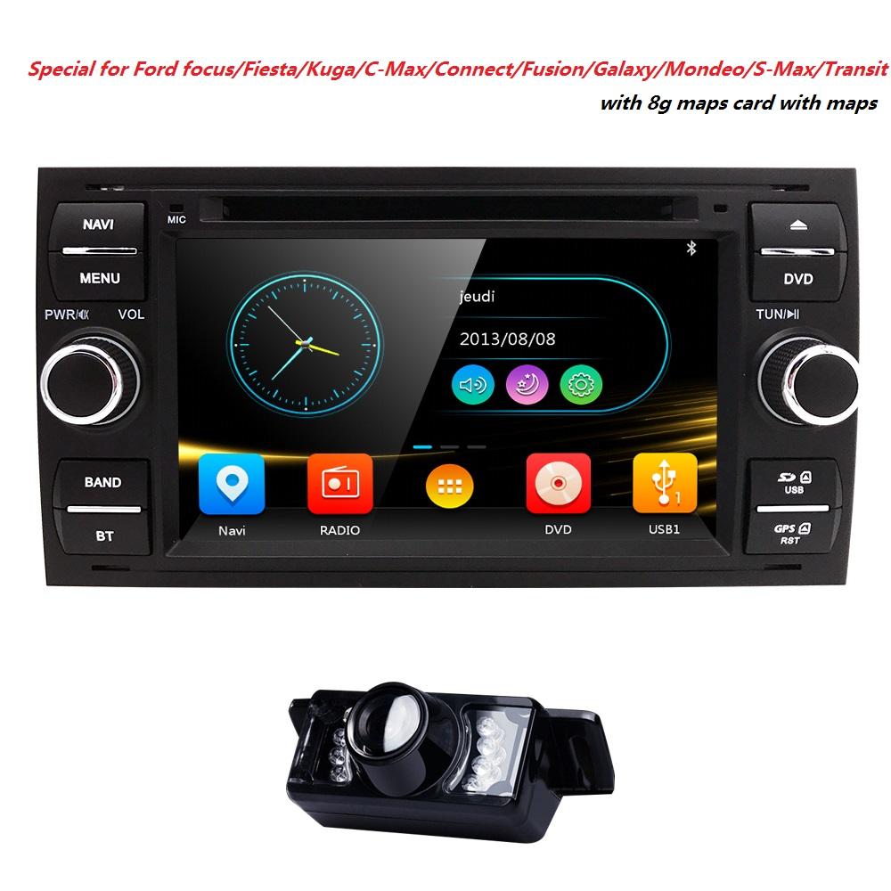 Hizpo 2 Din 7 InchCar DVD Player Navigator For Ford Focus Mondeo Fusoin 2 3 S C-Max Fiesta Galaxy Connect kuga Audio2004-2008