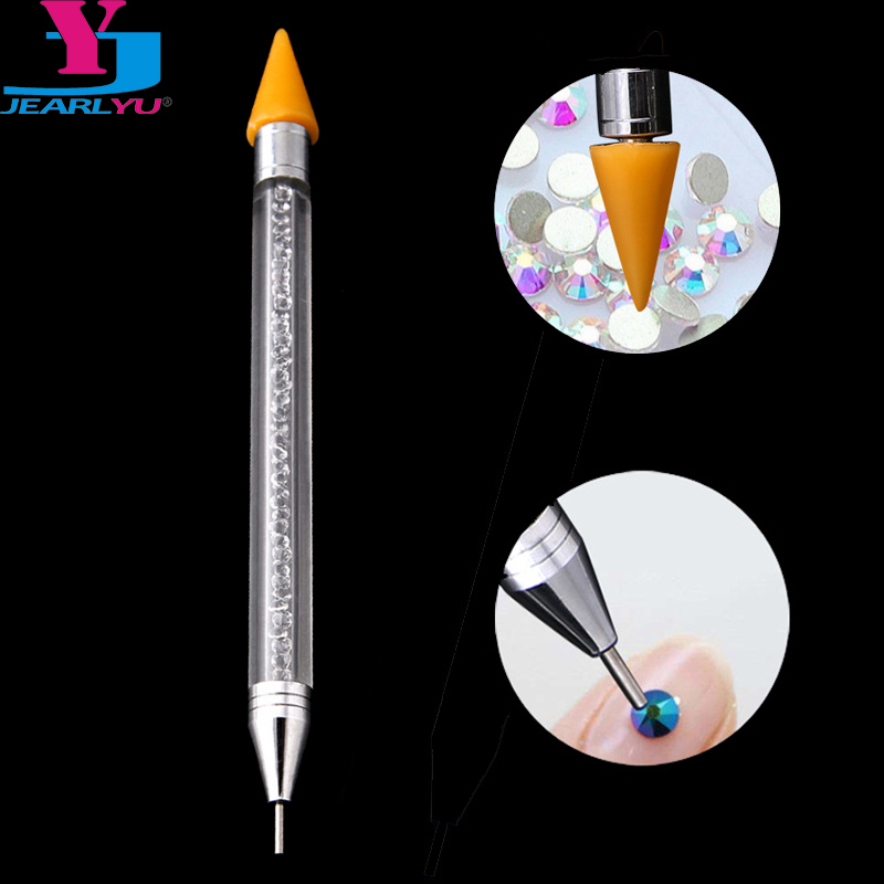 JEARLYU 1PC Wax Pencil Jewel Picker Pen High Quliaty Diamond Dots Nails Decoration Pick Up Pens Kit 2 Vias Acrylic Dotting Tools