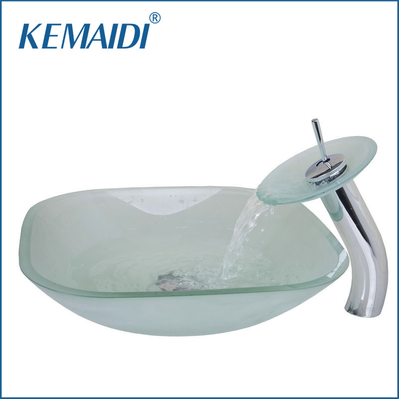 KEMAIDI Frosted Square Glass Bowl Bathroom Sink Decor Art Wash Basin With  Waterfall Faucet Tempered Glass