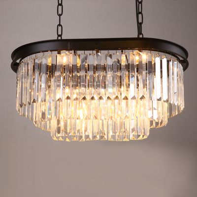 Stadium oval RH American retro vintage hanging chain pendant light lamp LED dinning room crystal glass ceiling pendant lamp LED - 3