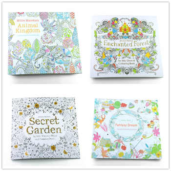4pcs 24 Pages Mixed Style Relieve Stress for Kids Adult Fantasy Dream Painting Drawing Secret Garden Kill Time Coloring Book - DISCOUNT ITEM  25% OFF Office & School Supplies