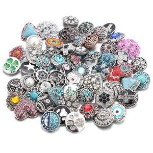 Image 4 - 50 pz/lotto Stile Misto 18mm Bottoni a pressione In Metallo Jewelry 50 Disegni Zenzero Scatto di Cristallo Fit 18mm Snap Bracelet braccialetti Collana