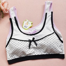 (1pcs/lot)New Fashion Lovely Cotton Children Training Bra High Quality 10-17 Years Old Girls Wire Free Bras