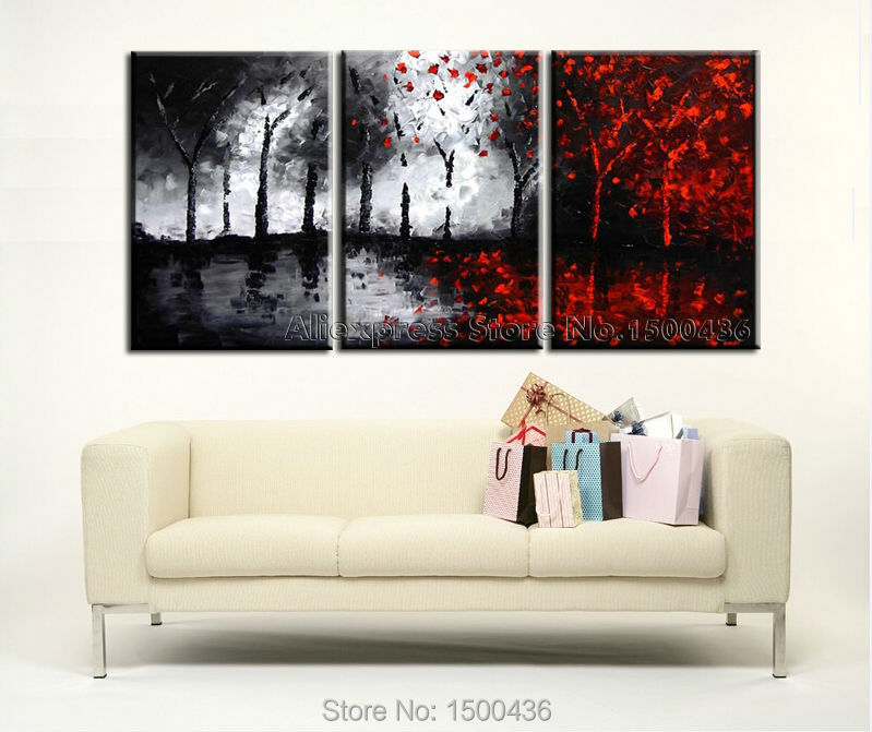 Hand painted tree canvas wall art picture oil painting modern abstract 3 piece black white and red landscape home decoration set in painting calligraphy