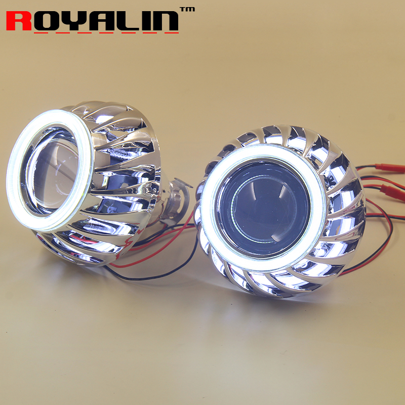 New Double LED COB Angel Eyes Halo Rings HID H1 Bi xenon Mini Projector Headlight Lens 2.5'' Mask for H4 H7 Car Lights Retrofit brand new superb led cob angel eyes hid lamp projector lens foglights for vw tiguan 2010 2012