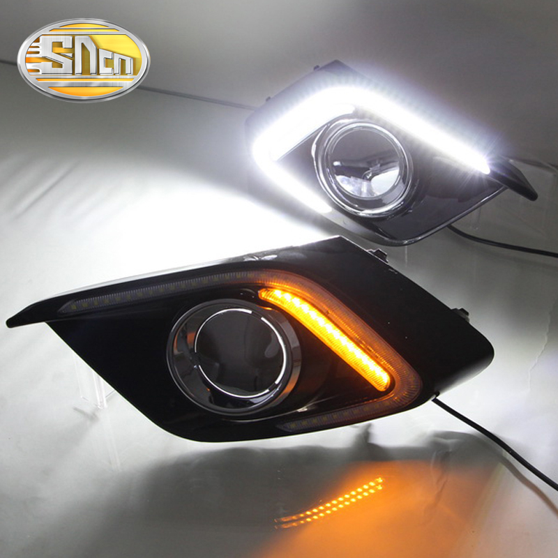 ФОТО For Mazda 3 2014 2015 2016,Yellow Turning Relay Waterproof ABS Car DRL 12V LED Daytime Running Light With Fog Lamp Hole SNCN