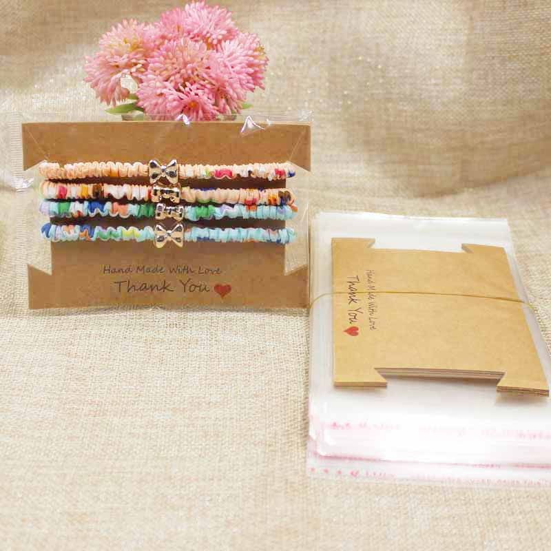 8*12CM Blank Brown/black Hair Clip Card Thank You Hair Band Card Handmade With Love Hair Accessories Card 100pc+100platic Bag