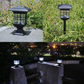 Outdoor Solar powered LED Garden lights Yard Bollard Pillar Light Post Lamp 3 LED blubs LED Solar Pillar Light