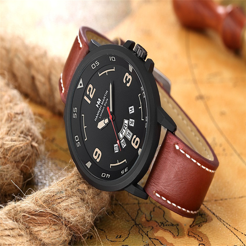 Hannah Martin Men Army Date Men's Watches Leather Stainless Steel Sport Quartz Wrist Watch Daily Waterproof New Style LD