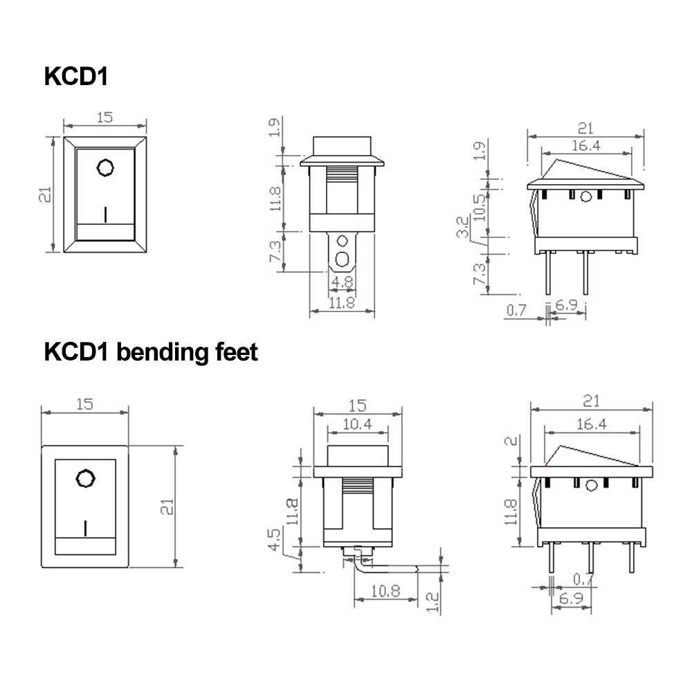 5 PCS KCD1 Rocker Schalter Boot Schalter Auf-Off Auf-Weg-Auf Taste 2 Pins 3 Pins 4 Pins 6 Pins Licht Schalter 6A 250 V/10A 125 V 15*21mm