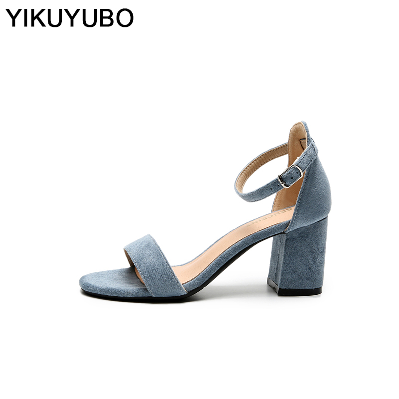 YIKUYUBO Sandals Summer Ankle-Strap Shoes Women Chunky Open-Toe High-Heels 40 Party-Dress